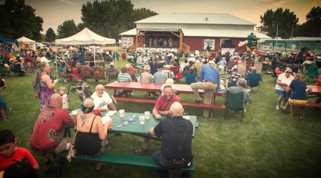 Crowd at Pepsi State Championship BBQ and Bluegrass Festival in Worland, Wyoming