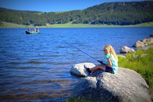 Fishing at Meadowlark Lake in Big Horn Mountains