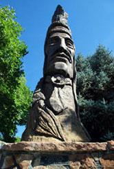 Sculpture of Native American in Worland, Wyoming