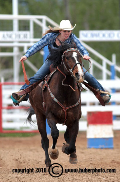 Barrel Racer competing at the Ten Sleep Rodeo Grounds