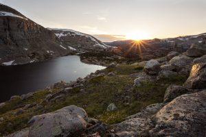 Sun setting in the Big Horn Mountains Cloud Peak Wilderness